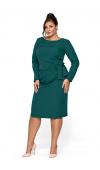 Elegancka sukienka z długim rękawem w kolorze butelkowej zieleni sprawdzi się w wielu sytuacjach.