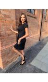 Elegancka sukienka podkreśla talię. Sprawdzi się jako kreacja wizytowa, imprezowa lub do pracy.