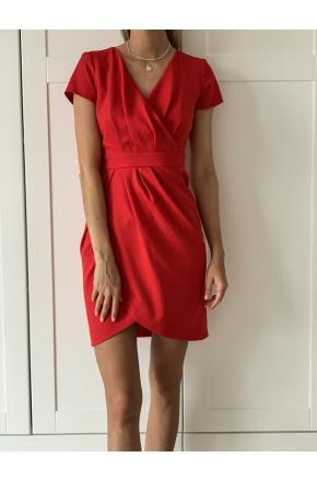 Lili - Czerwona koktajlowa sukienka tulipan  KM308-1
