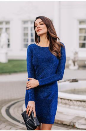 Sofia Niebieska błyszcząca mini sukienka KM328-2