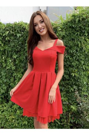 Amelia -  Czerwona sukienka z tiulem  KM323-1