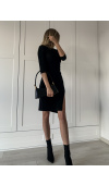 Seksowna, wizytowa sukienka do kolan w kolorze czarnym z błyszczącą nitką.