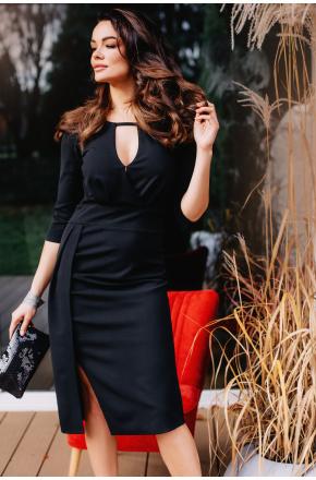 Wera- Czarna wizytowa sukienka midi z rozcięciem KM330
