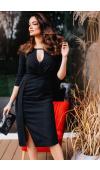 Czarna sukienka wizytowa o długości midi z rękawem ¾, doskonała na wieczorne wyjścia nieformalne.