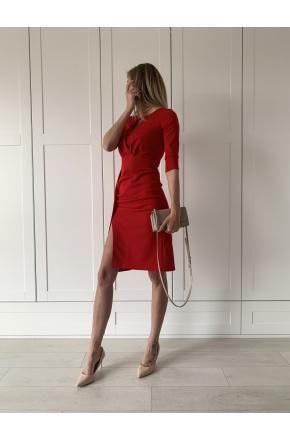 Wera- Czerwona wizytowa sukienka midi z rozcięciem KM330-1