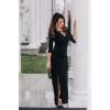 Wera II- Czarna wizytowa sukienka maxi z rozcięciem KM331