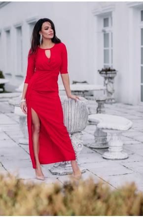 Wera II- Czerwona wizytowa sukienka maxi z rozcięciem KM331-1