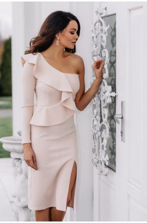 Inez Beżowa asymetryczna sukienka z falbaną KM325-3