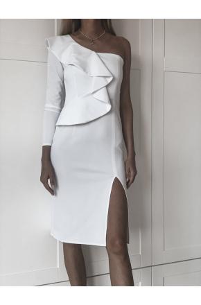 Inez Biała asymetryczna sukienka z falbaną KM325-4
