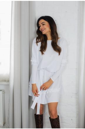 Clara biała dzianinowa sukienka oversize KM333-4