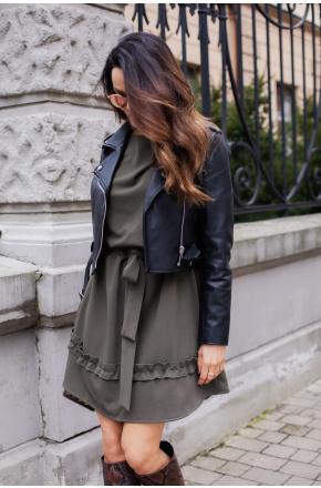 Clara khaki dzianinowa sukienka oversize KM333-6