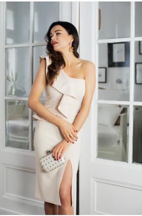 Ivet Beżowa asymetryczna sukienka z falbaną KM335-3