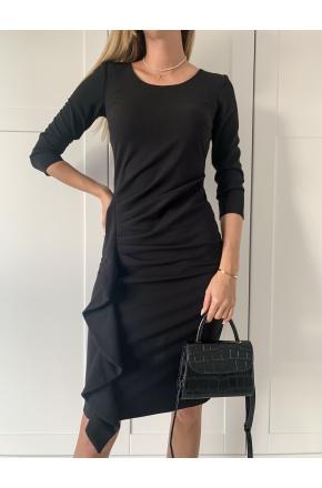 Sukienka elegancka wizytowa z falbaną Kaja KM336