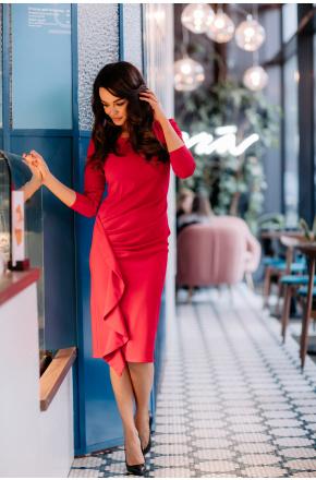 Kaja elegancka wizytowa sukienka z falbaną KM336-1