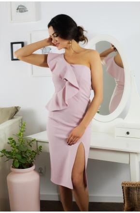 Ivet asymetryczna sukienka z falbaną pudrowy róż KM335-5