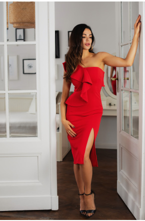 Sukienka Czerwona asymetryczna z falbaną Ivet KM335-1
