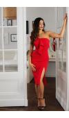 Czerwona, asymetryczna sukienka z falbaną. Opięta, z rozcięciem na udzie pasuje na ważne wyjścia.