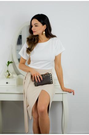 Liza dwukolorowa sukienka biało- beżowa KM337
