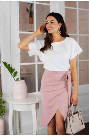 Sukienka dwukolorowa biało- różowa LizaKM337-1