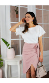 Liza dwukolorowa sukienka biało- różowa KM337-1