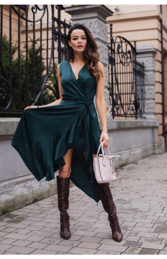 Wiki zwiewna zielona sukienka na wesele KM338-6