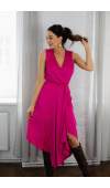 Wiki zwiewna sukienka na wesele KM338-5 Fuksja