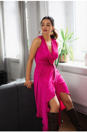 Sukienka zwiewna na wesele Wiki KM338-5 Fuksja