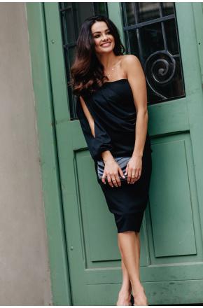 Olimpia asymetryczna sukienka z szyfonowym rękawem KM342