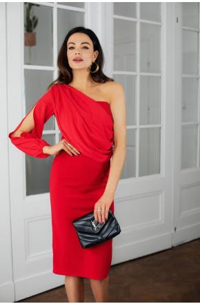 Olimpia asymetryczna sukienka z szyfonowym rękawem KM342-1