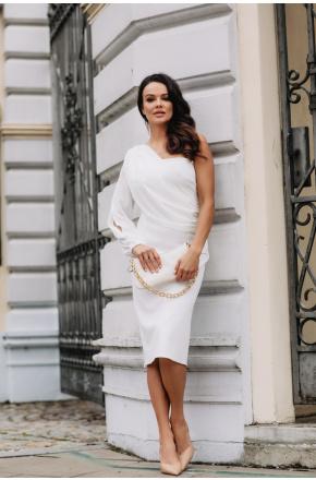 Sukienka asymetryczna z szyfonowym rękawem Olimpia KM342-3
