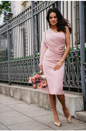 Sukienka asymetryczna z szyfonowym rękawem Olimpia KM342-4