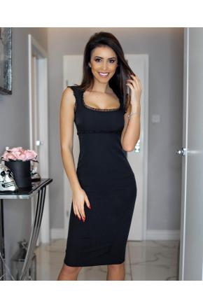 Elegancka wizytowa sukienka z falbanką KM13