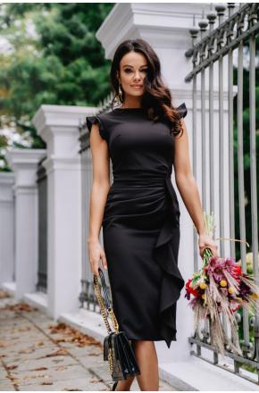 Sukienka Czarna wizytowa z falbaną na wesele Km66