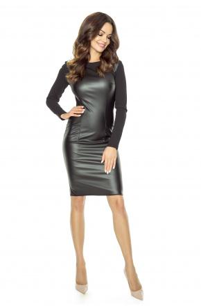 Czarna sukienka ze skóry z zamkiem Km104