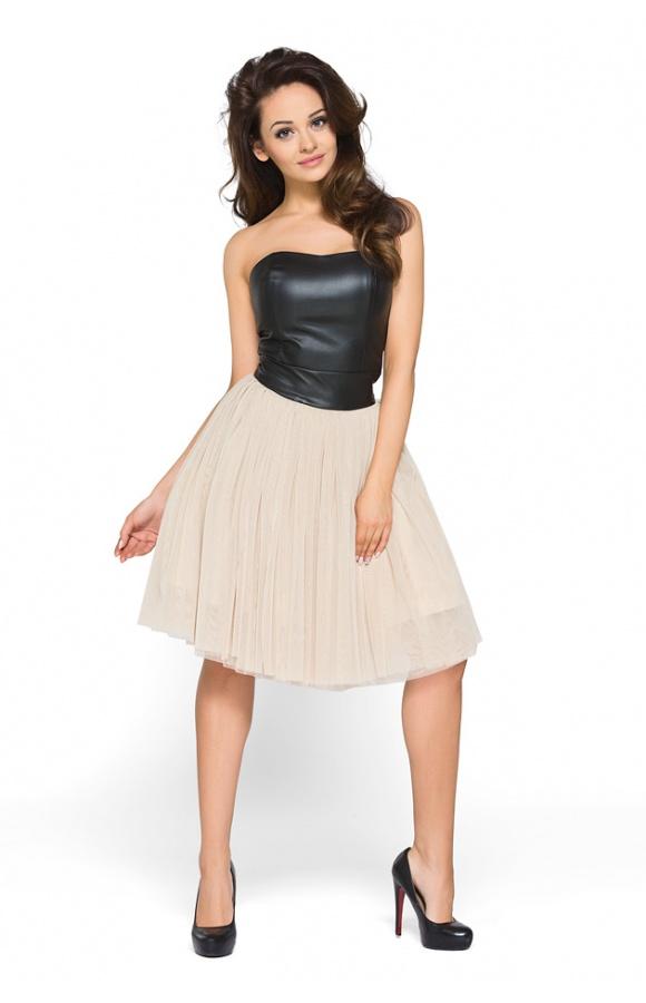 728582e8da Tiulowa sukienka ze skórzanym gorsetem KM120 - ❤ Kartes-Moda ❤