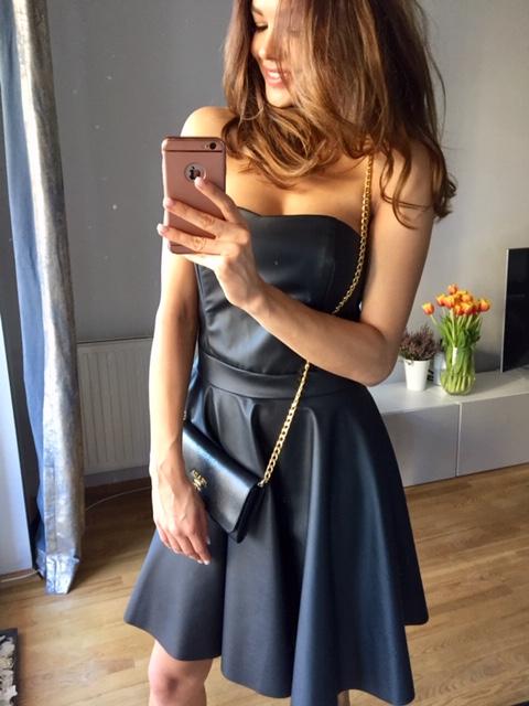 87cdd1086c Czarna gorsetowa skórzana sukienka km128 - ❤ Kartes-Moda ❤