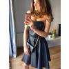 Czarna gorsetowa skórzana sukienka km128