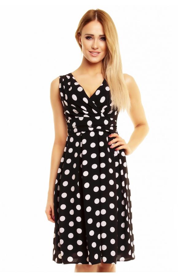 901e2ca77 Czarna sukienka w groszki kopertowy dekolt KM138 - ❤ Kartes-Moda ❤