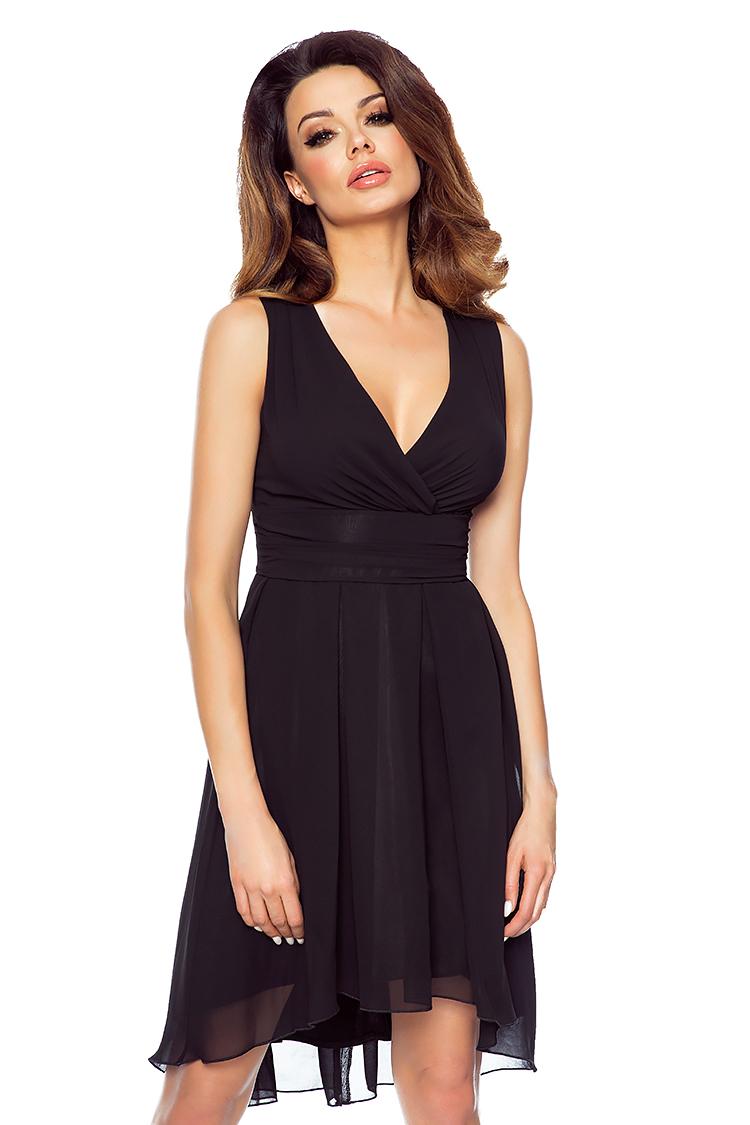 33d55028 Asymetryczna sukienka z szyfonu kopertowy dekolt KM154