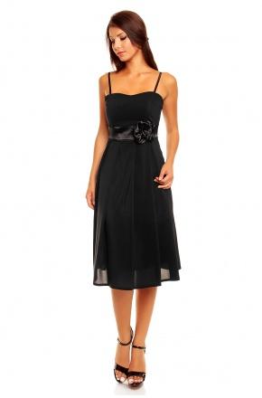 Koktajlowa sukienka z szyfonu z różą KM156