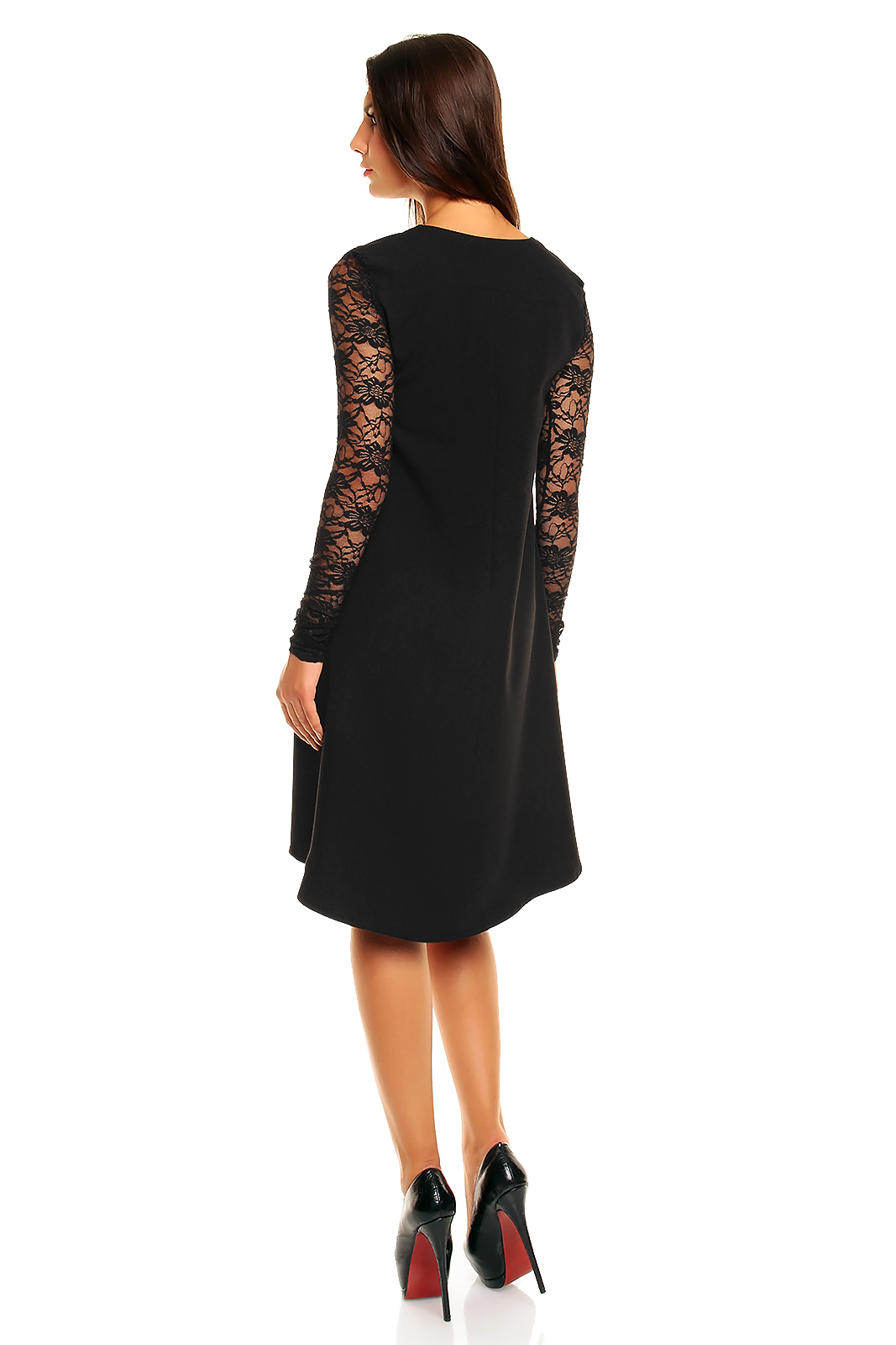 5e443e29de Trapezowa sukienka z przedłużonym tyłem i koronką KM161 - ❤ Kartes ...