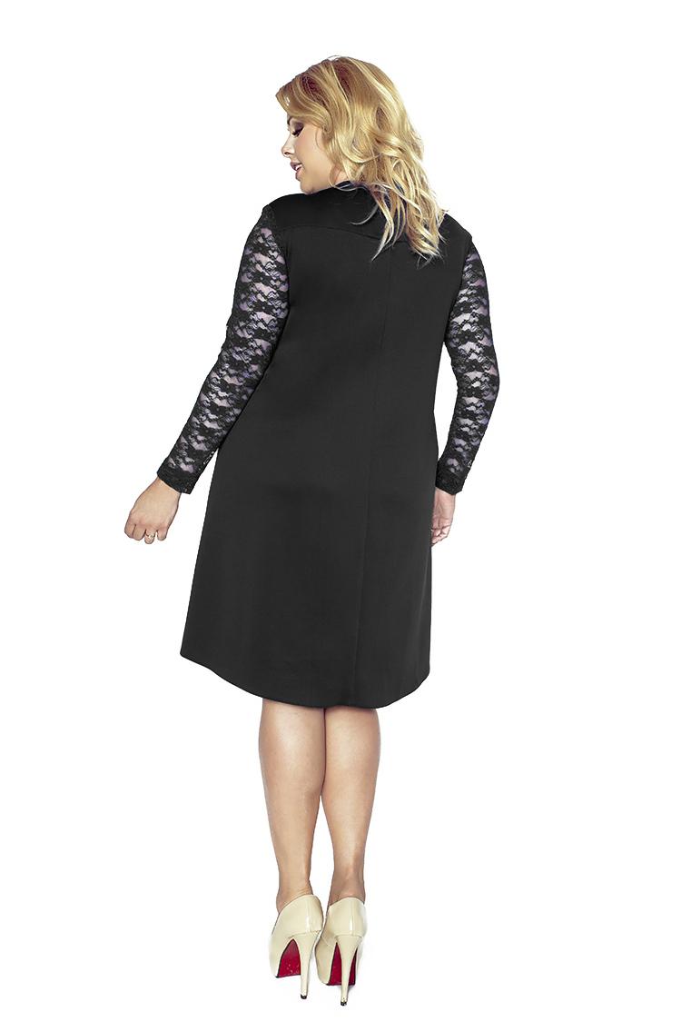 afae9e63c0 Trapezowa sukienka z przedłużonym tyłem i koronką KM161PS ...