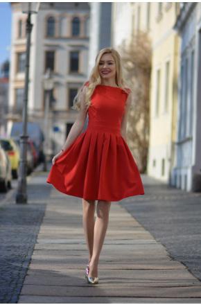 Iga - Rozkloszowana sukienka z kokardkami KM112-2