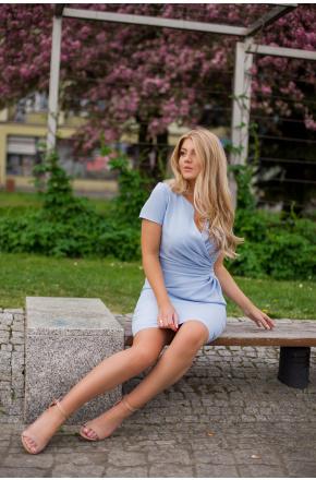 Sukienka Błękitna z kopertowym dekoltem KM56-5