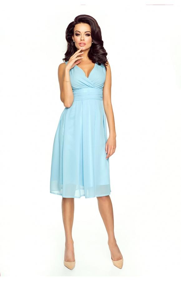 Błękitna sukienka z kopertowym dekoltem KM117-7