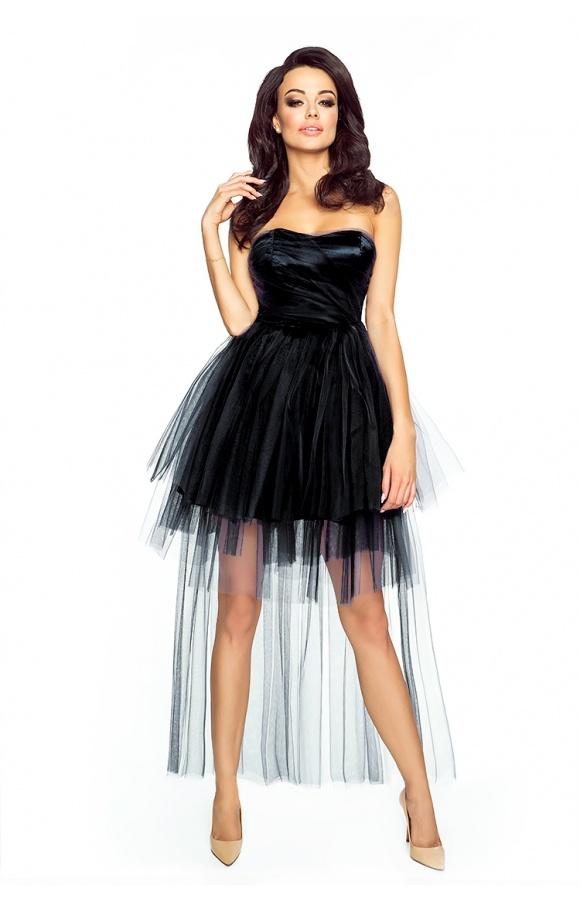 d63c31eda7 Tiulowa sukienka z trenem - mięta KM178