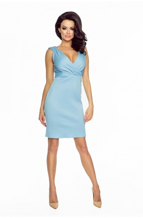 Seksowna sukienka z kopertowym dekoltem  BŁĘKIT KM184-2