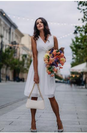 Sukienka z szyfonu kopertowy dekolt Km117-4 na wesele