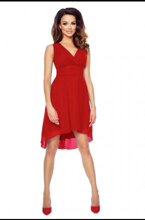 Czerwona asymetryczna sukienka na wesele km154-1