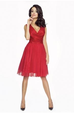 Tiulowa sukienka z koronkową górą KM141-1